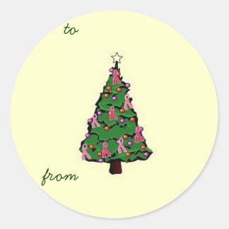Pink Ribbon Tree Gift Sticker