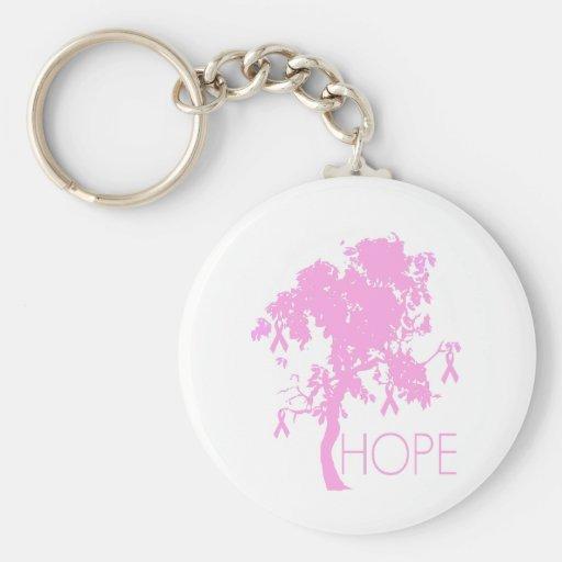 Pink Ribbon Tree of Hope Basic Round Button Keychain