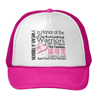 Pink Ribbon Tribute Collage Breast Cancer Trucker Hat