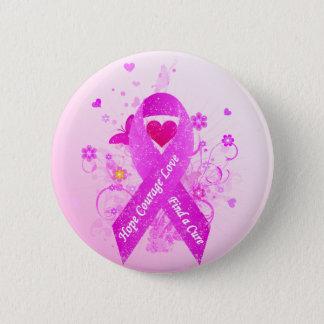 Pink Ribbon Vintage Button