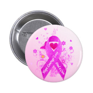 Pink Ribbon Vintage Button
