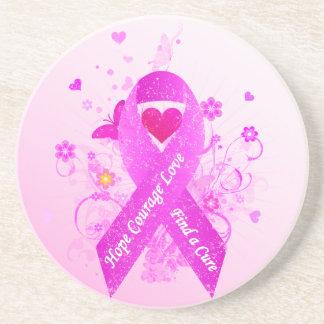 Pink Ribbon Vintage Sandstone Coaster