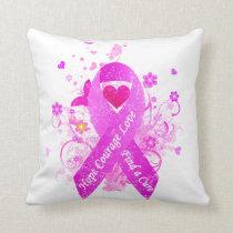 Pink Ribbon Vintage Throw Pillow