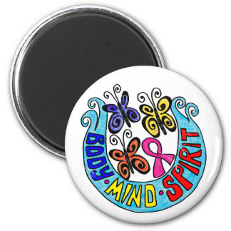 Pink Ribbon w/ Butterflies and  Body Mind Spirit 2 Inch Round Magnet