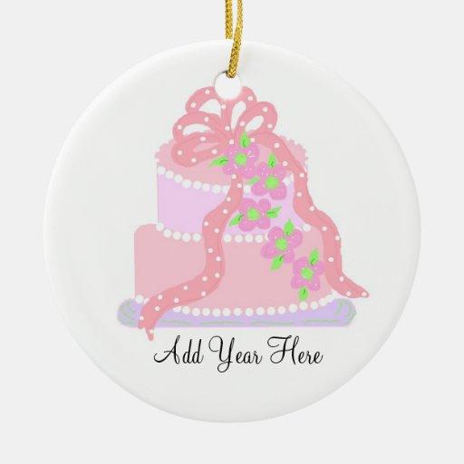 Pink ribbon wedding cake christmas tree ornament zazzle for Engagement christmas tree ornaments