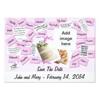 Pink Ribbon, Wedding Cake 5x7 Paper Invitation Card