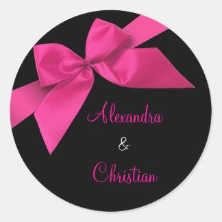 Pink Ribbon Wedding Invitation Announcement RSVP Classic Round Sticker