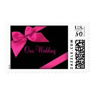 Pink Ribbon Wedding Invitation Announcement RSVP Postage