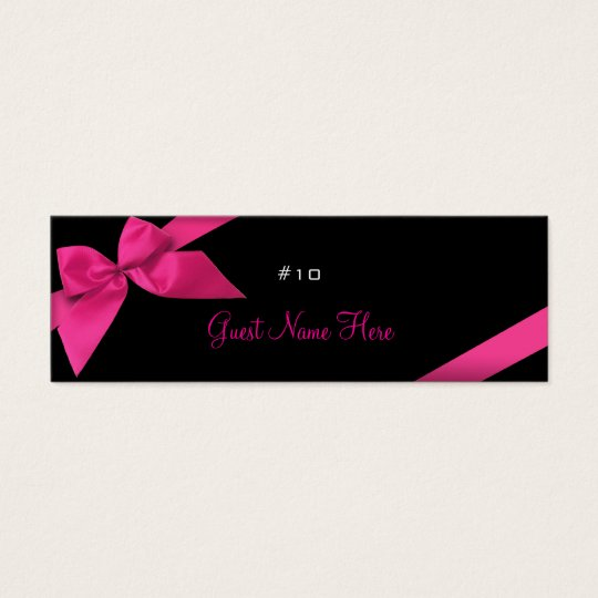 Pink Ribbon Wedding Party Place Card Thank You