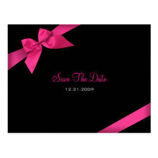 Pink Ribbon Wedding Save the Date 3 Postcard