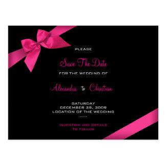 Pink Ribbon Wedding Save the Date 4 Postcard