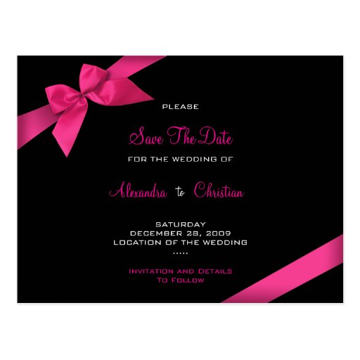 Pink Ribbon Wedding Save the Date 4 Post Card