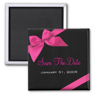 Pink Ribbon Wedding Save The Date Announcement1 2 Inch Square Magnet