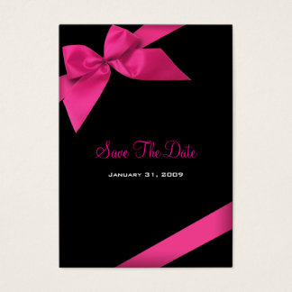 Pink Ribbon Wedding Save The Date MiniCard Business Card