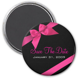 Pink Ribbon Wedding Save The Date Round 3 Inch Round Magnet