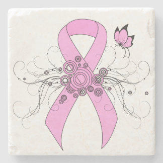 Pink Ribbon with Butterfly Stone Beverage Coaster