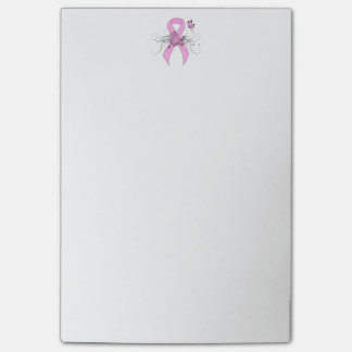 Pink Ribbon with Butterfly Post-it Notes