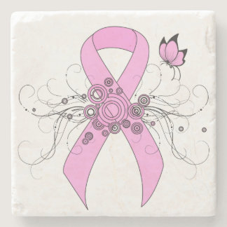 Pink Ribbon with Butterfly Stone Coaster