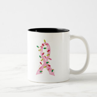 Pink Ribbon With Christmas Lights Breast Cancer Mugs