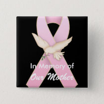 Pink Ribbon with Dove ~ Customizable Button