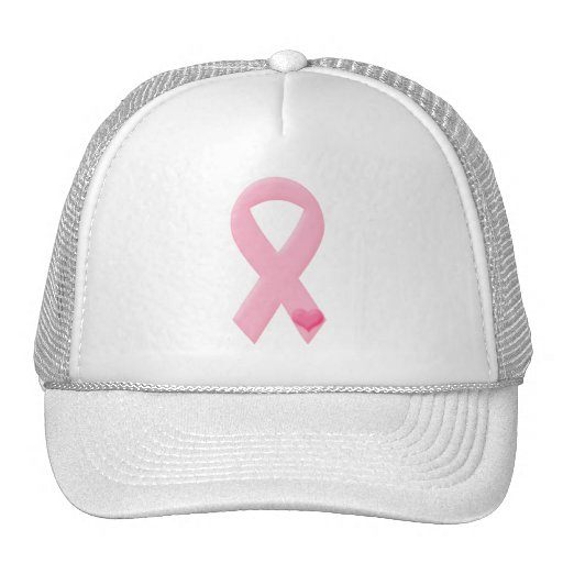 Pink Ribbon with Heart Trucker Hats