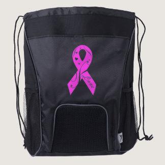 Pink Ribbon With Love Drawstring Backpack