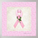 Pink Ribbon with Pink Rose Beautiful Print