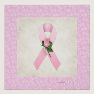 Pink Ribbon with Pink Rose Beautiful Print