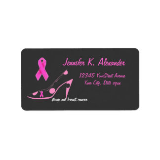 Pink Ribbon with polka dot shoe Custom Address Label