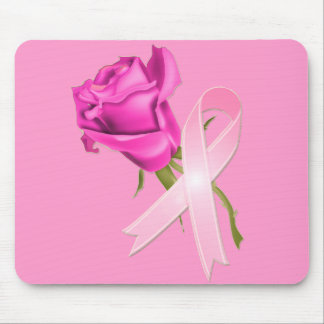 Pink Ribbon with Rose *Breast Cancer Awareness * Mouse Pad