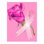 Pink Ribbon with Rose *Breast Cancer Awareness * Postcards