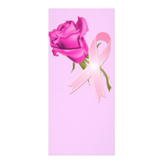Pink Ribbon with Rose *Breast Cancer Awareness * Rack Card Design