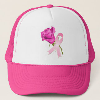 Pink Ribbon with Rose *Breast Cancer Awareness * Trucker Hat