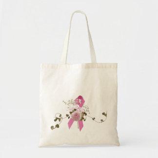 Pink ribbon with rose tote bag