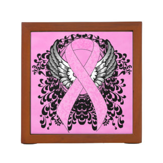 Pink Ribbon with Wings Pencil Holder