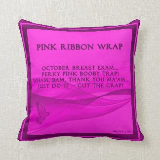 Pink Ribbon Wrap Throw Pillow