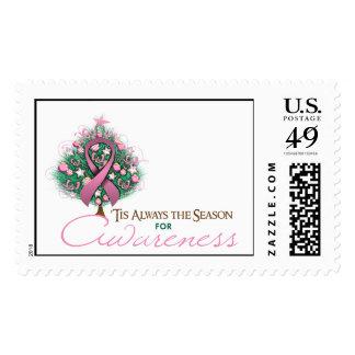 Pink Ribbon Xmas Awareness Season Postage Stamps