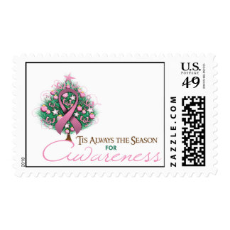 Pink Ribbon Xmas Awareness Season Stamp