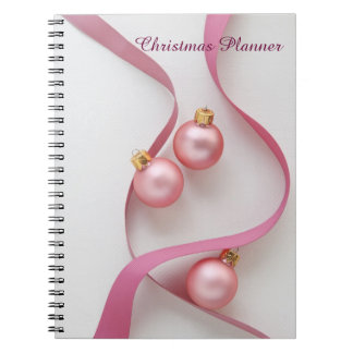 Pink ribbons and ornaments Christmas Notebook