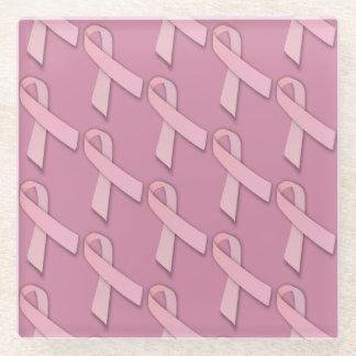 Pink Ribbons Awareness Symbol Glass Coaster