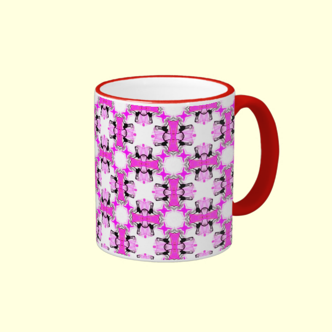 Pink Ribbons Bows Abstract Modern Magenta Pattern Mug