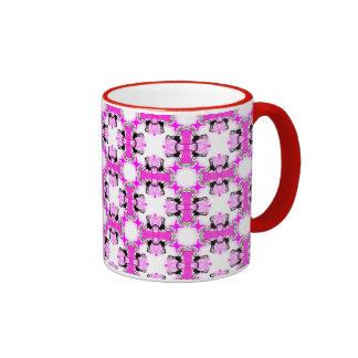 Pink Ribbons Bows Abstract Modern Magenta Pattern Ringer Coffee Mug