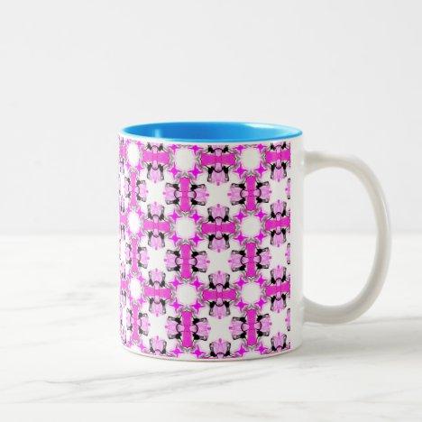 Pink Ribbons Bows Abstract Modern Magenta Pattern Two-Tone Coffee Mug