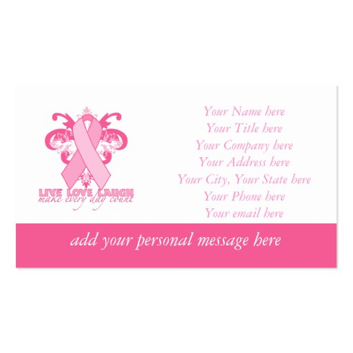 Pink Ribbons Every Day Business Card Template