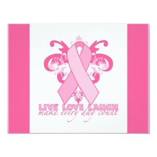 Pink Ribbons Every Day 4.25x5.5 Paper Invitation Card