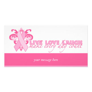 Pink Ribbons Every Day Custom Photo Card