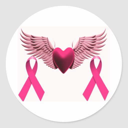Pink Ribbons & Heart of Love & Support Classic Round Sticker
