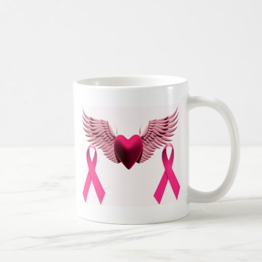 Pink Ribbons & Heart of Love & Support Classic White Coffee Mug