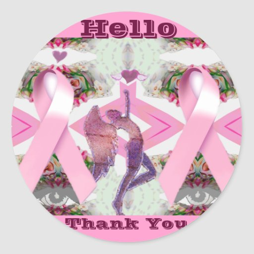 Pink Ribbons of Love & Hope- Hello_ Stickers