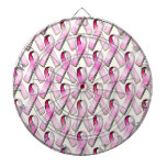 PINK RIBBONS PATTERN DARTBOARD WITH DARTS